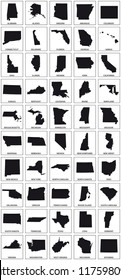 black silhouette maps of 50 us states.
