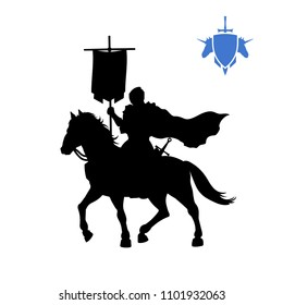 Black silhouette of medieval knight with banner . Fantasy warlord character. Games icon of paladin on horse. Isolated drawing of warrior. Vector illustration
