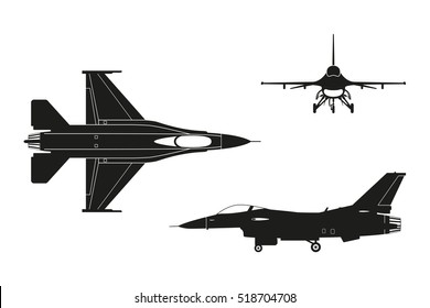 Black silhouette of military aircraft on white background. Top, side, front views. Vector illustration.