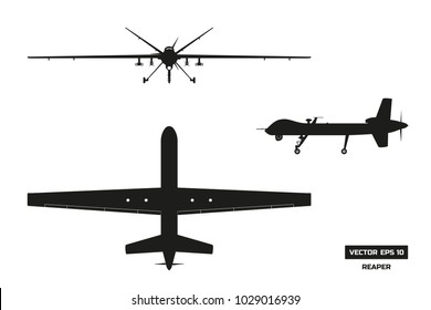 Black silhouette of military drone. Top, front and side view. Army aircraft for intelligence and attack. Industrial isolated drawing. Vector illustration