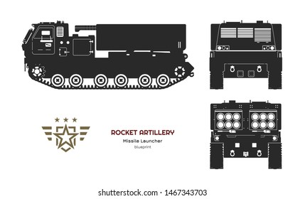 Black silhouette of missile vehicle. Rocket artillery. Side, front and back view. Drawing of military tractor with jet weapon. Camouflage tank. Vector illustration