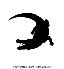 Black silhouette of mississippi alligator. Isolated crocodile image on white background. Animal of North America. Vector illustration