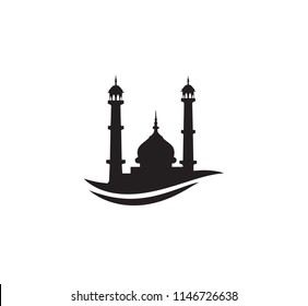 Black Silhouette Mosque Sign Logo Symbol Stock Vector Royalty Free 1146726638