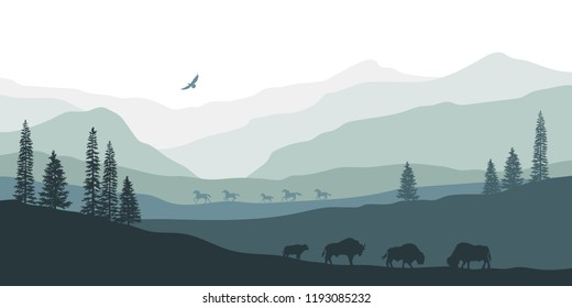 Black silhouette of mountain landscape. American bison. Natural panorama of forest animals. Isolated western scenery. Wildlife scene. Vector illustration