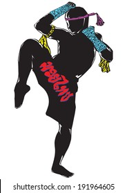 Black silhouette Muay thai character in complete suit with Leg guard demeanor.