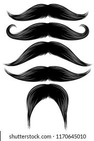 Black silhouette of the mustache set isolated on white. Vintage engraving stylized drawing. Vector illustration