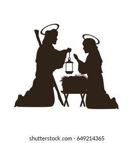 black silhouette nativity scene catholic