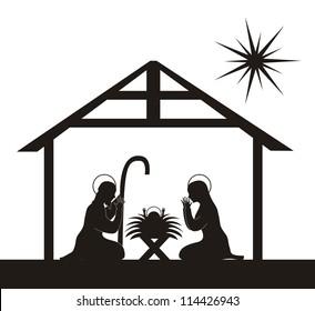 black silhouette nativity scene isolated. vector illustration