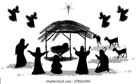 Black silhouette nativity scene and shepherds-Vector illustration