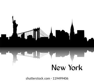 Black silhouette of New York, USA, with reflection