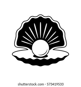 The black silhouette of an open shell with pearls. flat-style logo. illustration