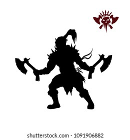 Black silhouette of orc with axe on background. Fantasy character. Angry warrior with weapon. Barbarian tattoo. Vector illustration