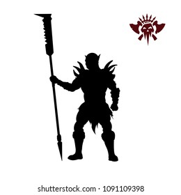 Black silhouette of orc with spear on background. Fantasy character. Angry warrior with weapon. Barbarian tattoo. Vector illustration