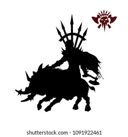 Black silhouette of orc warlord on white background. Fantasy character. Angry warrior on wild boar. 2d sprite shaman. Vector illustration