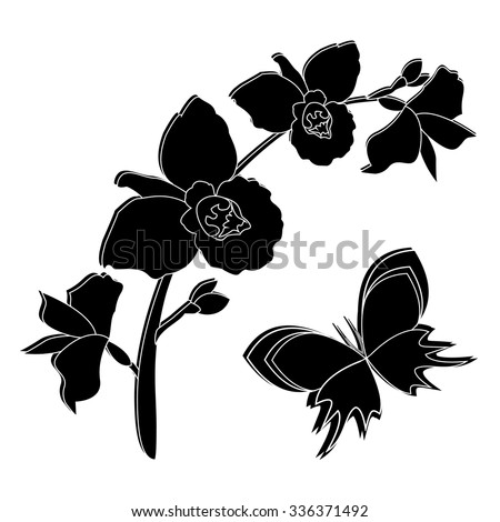 79a657c0f Black silhouette of orchid flowers with butterfly. Orchid branch background