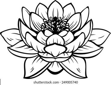 Black silhouette outline lotus (nelumbo), isolated on white. Vector tattoo illustration