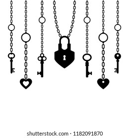 black silhouette of padlock and keys with chain