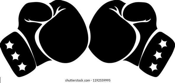 black silhouette pair of boxing gloves punch to each other with three stars in each glove wrist