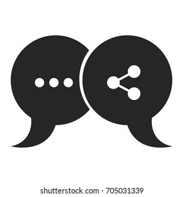 black silhouette of pair speech bubbles with symbols of ellipsis and network vector illustration