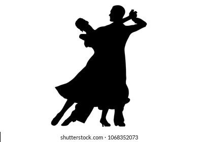 black silhouette pair woman and man dancer ballroom