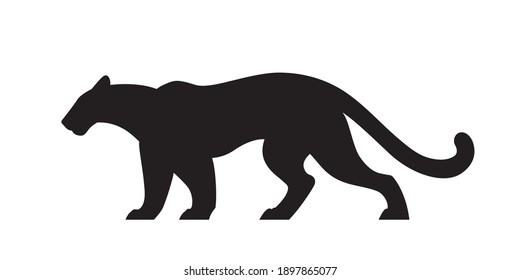 Black silhouette of panther. Vector wildcat illustration. Side view predator animal isolated on white background as logo, mascot or tattoo.