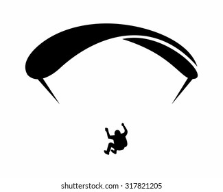 black silhouette parachute paragliding silhouette image vector