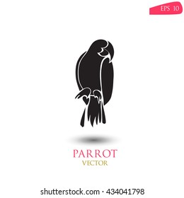 Black silhouette of parrot on white background with a shadow. Parrot logo vector illustration.
