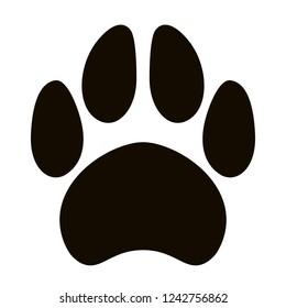 black silhouette paw  dog footprint, vector illustration