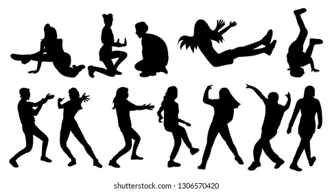 black silhouette people dancing, set, white background