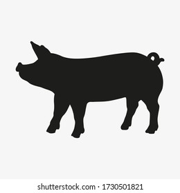Black silhouette of pig isolated on white background. Vector illustration of domestic animal. Happy pig icon. Symbol of pig.