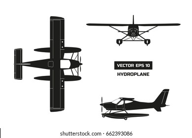 Black silhouette of plane on white background. Cargo aircraft. Industrial drawing of hydroplane. Top, front and side view. Vector illustration.