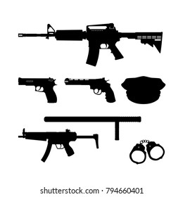Black silhouette of police gun and equipment on white background. Weapons: rifle and pistol. Vector illustration