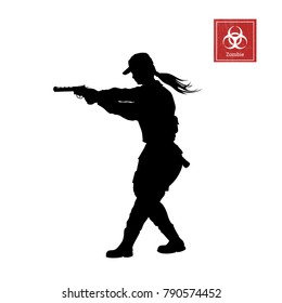 Black silhouette of police woman with gun on white background. Girl security. Zombie shooter. Character for computer game or thriller. Vector illustration