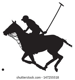 Black silhouette of a polo player and horse