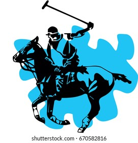black silhouette of a polo player with horse