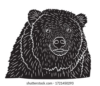 Black silhouette portrait of a realistic bear in isolate on a white background. Vector illustration.