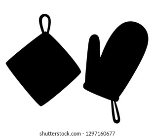 Black silhouette. Potholder and oven mitt. Protective fabric tissue cloth with square pattern. Flat vector illustration isolated on white background.