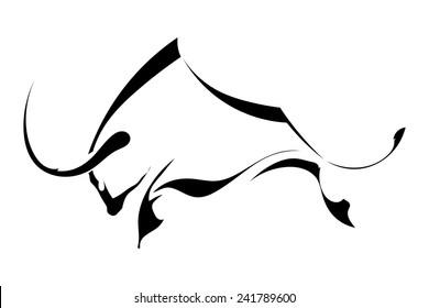 Black silhouette in profile bull isolated on white background. Logo, trademark farm. Vector illustration.
