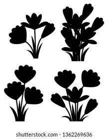 Black silhouette. Purple crocuses. Crocus vernus Spring Crocus, Giant Crocus . Purple early spring flower. Flat vector illustration isolated on white background. Icon set.