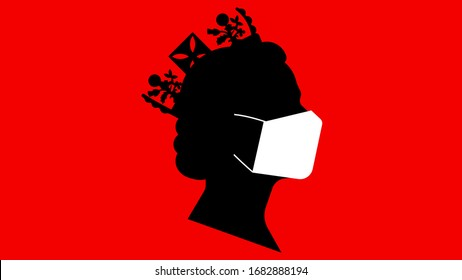 Black silhouette of Queen Elizabeth in medicine mask. Traditional image of the queen side view. 25 march 2020. Editorial illustration.