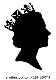 Black silhouette of Queen Elizabeth. Traditional image of the queen side view.