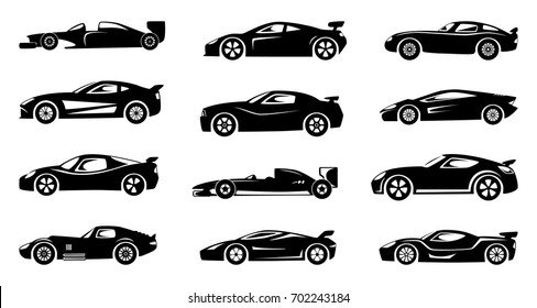 Black silhouette of race cars. Sports symbols isolated. Set of silhouette car collection illustration