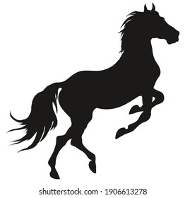 Black silhouette of a rearing horse. Prancing stallion pricked up its ears. Vector design element for equestrian goods isolated on a white background.