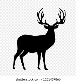 Black silhouette of reindeer with big horns isolated on transparent background. Vector illustration, icon, clip art, sign, symbol of deer for design.