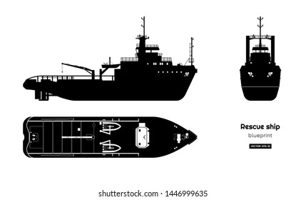 Black silhouette of rescue ship on white background. Top, side and front view. Industry blueprint. Isolated drawing of boat. Vector illustration