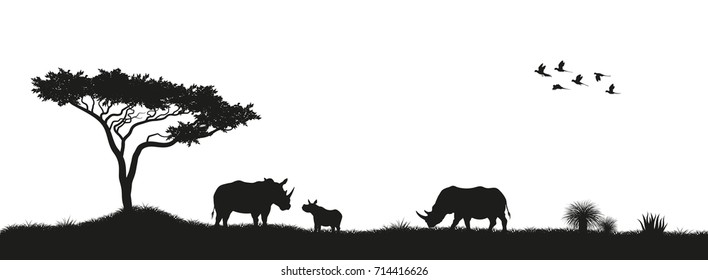 Black silhouette of rhinoceroses and trees in the savannah. Animals of Africa. African landscape. Panorama of wild nature. Vector illustration