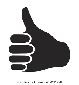 black silhouette of right hand thumb up vector illustration