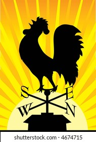 Black silhouette of a rooster weathervane on a rooftop