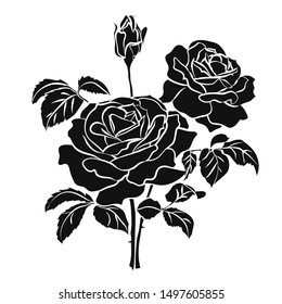 Black silhouette of rose isolated on white background. Vector illustration.