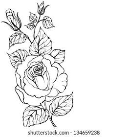Black silhouette of rose isolated over white. Vector illustration.